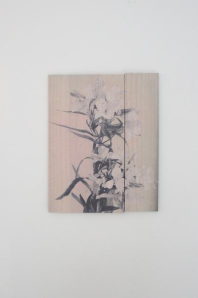 Alstroemeria Incalelie, Inktjetdruk op zijde, hout, 2015