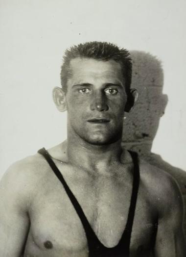 Sport. Sport, Olympische Spelen Amsterdam, 1928 : Olympisch kampioen Grieks/Romeins worstelen tot 62 kg, De Est Woldemar